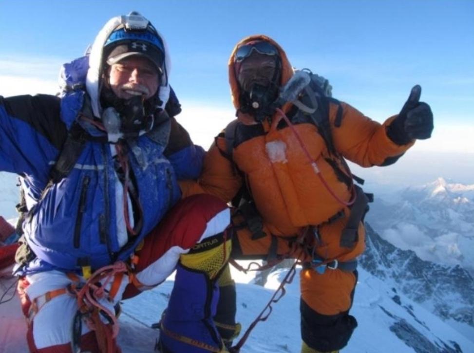 Frank Campanaro summiting Mount Everest