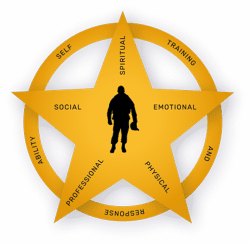 GallantFew STAR logo. Star shape, soldier in center of star, ring around star, 5 functional fitness areas named on star