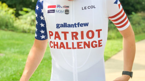 man wearing Patriot Challenge bicycle jersery