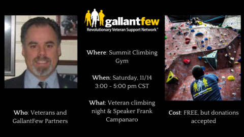 Flyer for Military Climbing night with Frank Campanaro pic, pic of climbers, details of event
