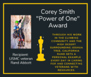 """VetXpo award winner Rand Abbott - won the Corey Smith """"Power of One"""" Award"""