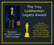 VetXpo 2020 Troy Leatherman winner Milan Georgia - graphic showing he won