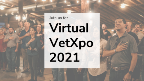 "Photo of people taking Pledge of Allegiance with ""Join us for Virtual VetXpo 2021"" overlaid on photo"
