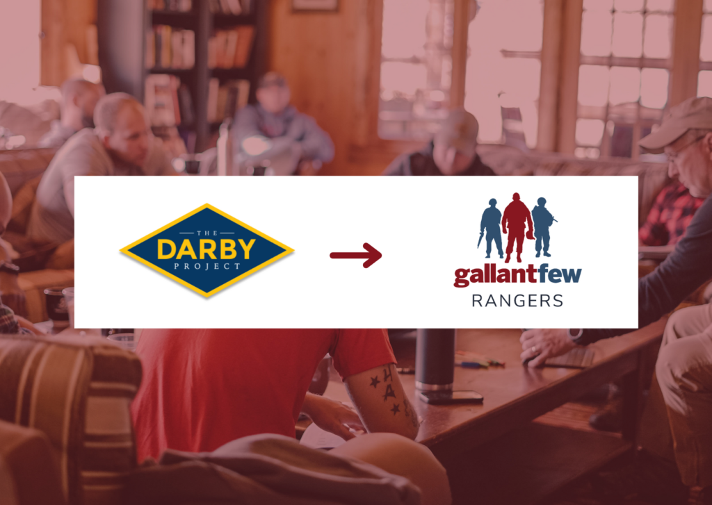 The Darby Project logo with an arrow directing to the new GallantFew Rangers logo