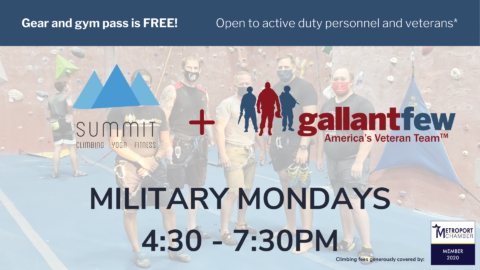 Flyer for Summit Climbing Gym with GallantFew